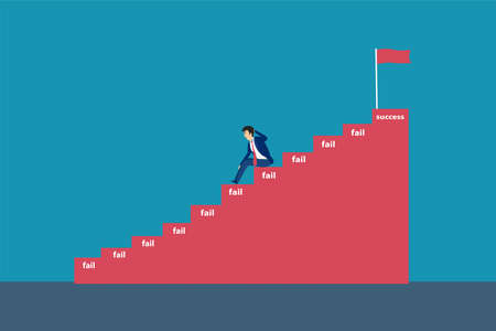 Businessman gives up vector concept: Lazy businessman gives up before reach the success flag on the top of stairs