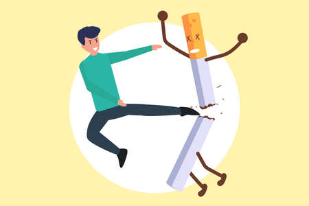 Quit smoking vector concept: Young man kicking a cigarette as his action to quit smoking