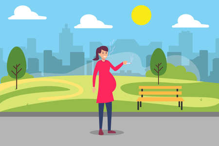 Unhealthy vector concept: Pregnant woman smoking while standing in the park 矢量图像