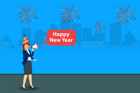 New year vector concept: Young businesswoman saying happy new year while using megaphone Illusztráció