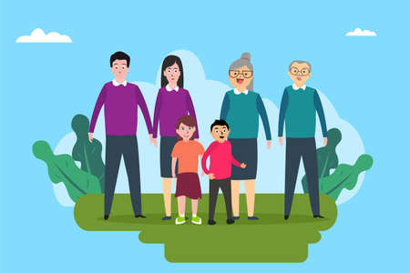 Three generation family vector concept: Three generation family smiling together while standing in the park
