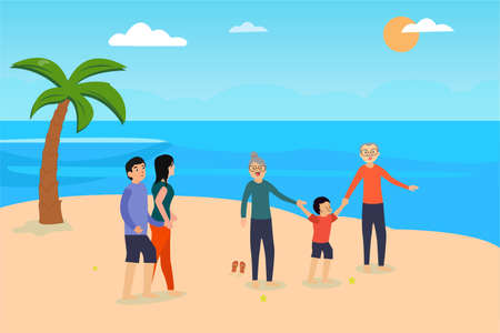 Three generation family vector concept: Three generation family enjoying holiday in the beach while playing together