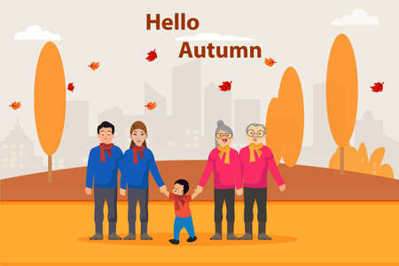 Three generation family vector concept: Three generation family standing together in autumn park