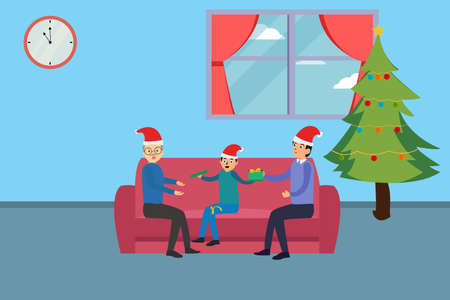 Christmas day vector concept: Little son open the gift while sitting on the sofa with grandfather and father
