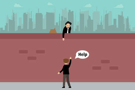 Business pretending vector concept: Cheating businessman pretending to help friend by held out hands while there is a hidden rope