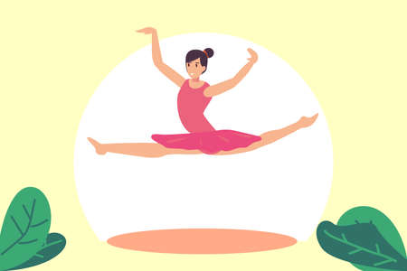 Ballerina vector concept: Attractive ballerina dancing ballet while jumping and posing in the air Çizim