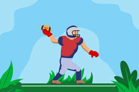 American football vector concept: Male american football player throwing the ball at the field Ilustracja