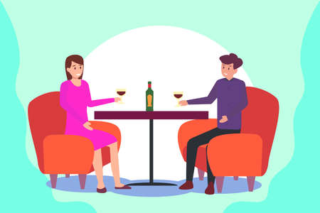 Romantic couple vector concept: couple drinking wine while sitting on the chair