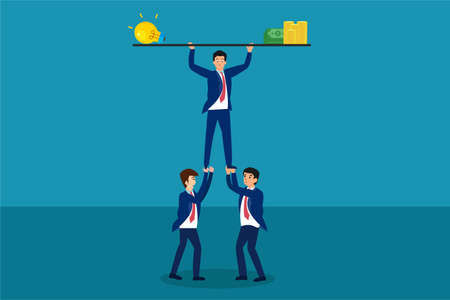 Teamwork vector concept: Group of business people lifting a light bulb and money Vector Illustration