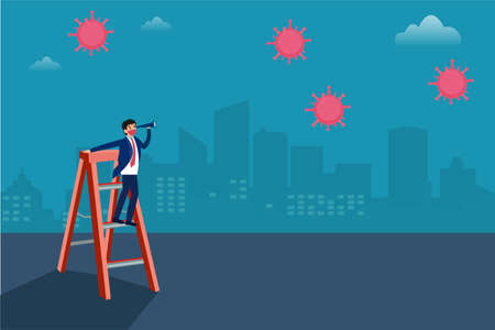 Business vision new normal vector concept: Businessman wearing face mask and standing on ladder while looking at coronavirus with a telescope 向量圖像