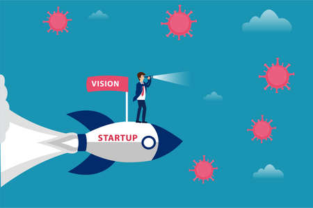 Business vision new normal vector concept: Businessman riding a flying startup rocket with vision flag while looking at coronavirus through the telescope 向量圖像