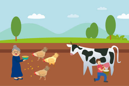 Agriculture vector concept: Senior woman feeding chicken while her daughter taking milk from the cattle