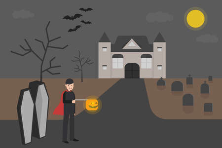 Halloween vampire vector concept: Vampire walking at the graveyard while carrying pumpkin lantern with scary caster background