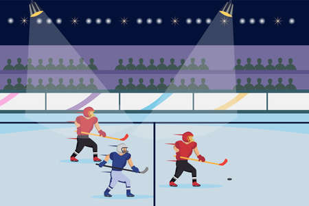 Hockey vector concept: Ice hockey players in action to take the puck at stadium