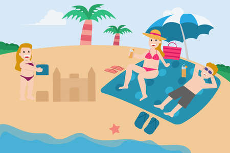 Summer holiday vector concept: Happy parents sunbathing in the beach while their daughter playing sand castle