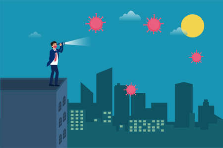 Business vision new normal vector concept: Businessman standing on the office building rooftop and using telescope to look at coronavirus in the city