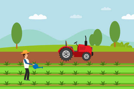 Agriculture vector concept: Farmer watering the plant with a can at the farmland