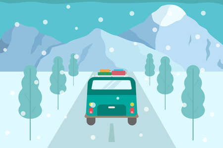 Winter holiday trip vector concept: Back view of car with roof luggage moving on the snowy road