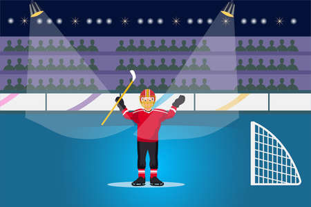 Hockey vector concept: Hockey player celebrating his winning in the stadium