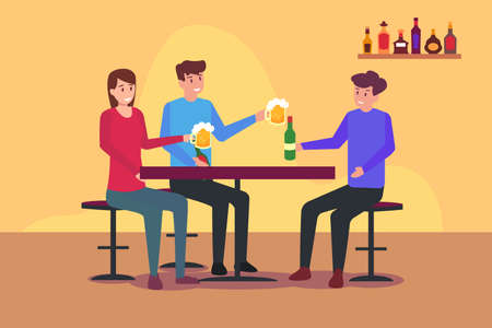 Alcoholics vector concept: Group of friends drinking beer while sitting on the chair in the pub