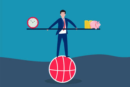 Business vector concept: Businessman balancing time with piggy bank and coins while standing on a basketball