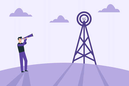 5G network vector concept: Man looking at telecommunication tower with 5G network connection symbol