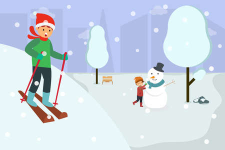 Winter vector concept: Young man playing snow ski and little boy making snowman in the snowy park 向量圖像