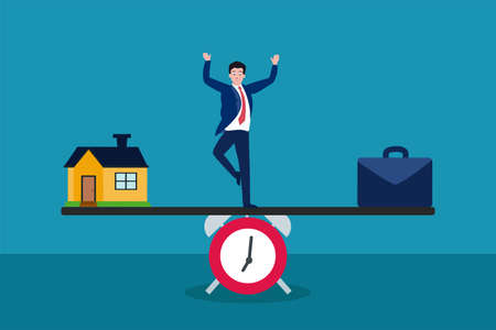 Business vector concept: Businessman balancing time between home and work