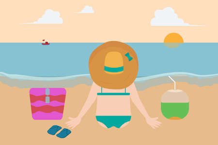 Summer holiday vector concept: Young woman sitting on the beach while looking the sunset with coconut drink Illustration