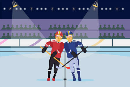 Hockey vector concept: Ice hockey players competing to take the puck with stick in the stadium Illustration