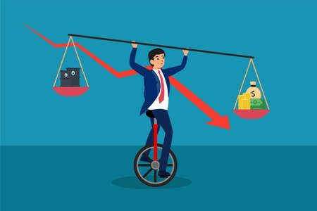 Business balance vector concept: Businessman balancing on one wheel bicycle while holding equilibrium between oil and money with declining chart background