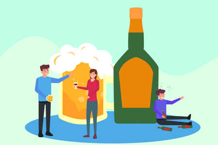 Alcoholics vector concept: Group of young people enjoying beer with drunk person and beer glass