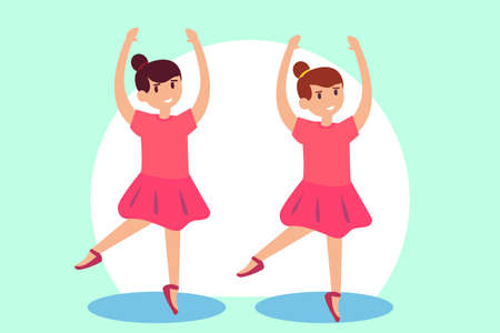 Ballerina vector concept: Two young girls dancing ballet together while wearing ballerina costume