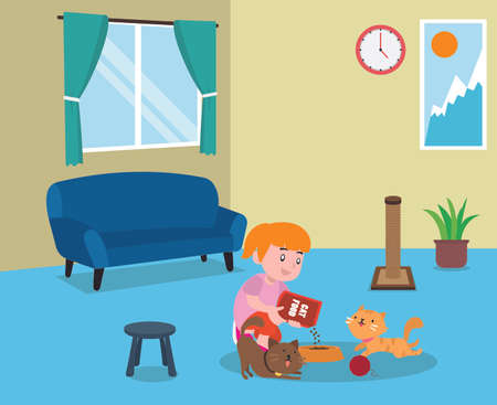 Feeding pet vector concept: Little girl feeding her cats at home