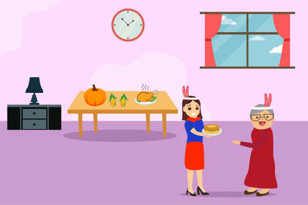 Thanksgiving vector concept: Woman giving homemade pie to her old mother at thanksgiving day