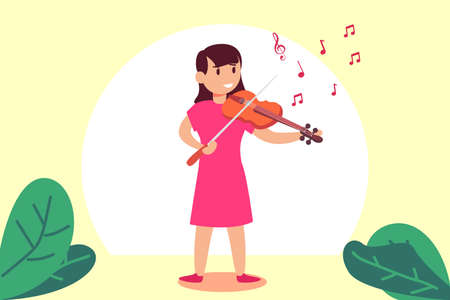 Kids musical vector concept: Young violinist playing her violin with musical notes in the air