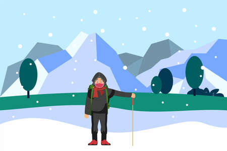 Travel concept: Man with backpack standing on snowy field at winter time