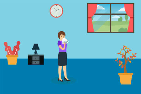 Influenza vector concept: Sick woman sneezing on handkerchief while standing at home