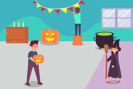 Halloween vector concept: Teenager prepare halloween party together at home while wearing halloween costumes