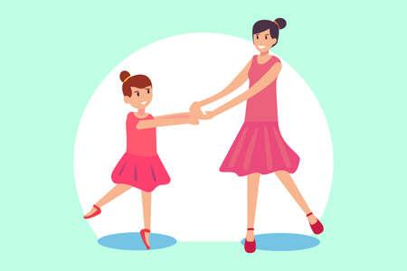 Ballerina vector concept: Little girl learning ballet with her teacher while wearing ballerina costume
