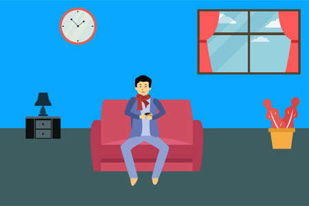 Sickness vector concept: Sick person sitting on the sofa while holding hot drink at home