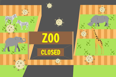 Closed tourism vector concept: Zoo closed due to the corona virus outbreak