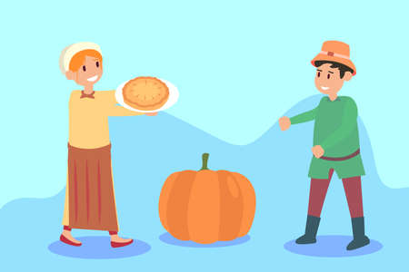 Thanksgiving vector concept: Little girl giving a baked pie to her friend with pumpkin background