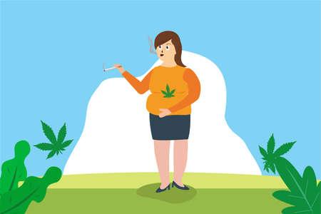 Addiction of cannabis vector concept: Young woman addicted of cannabis while smoking cannabis