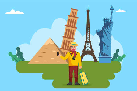 New Normal Travel concept: Man wearing face mask and taking photo while holding suitcase with famous world landmarks background
