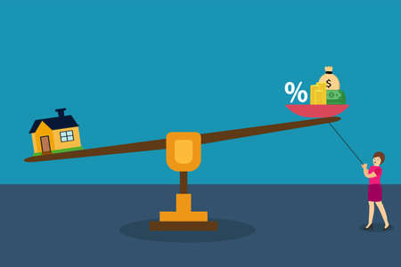 Business vector concept: Woman trying to balancing a scale with interest rates, money, and house symbol