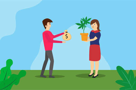 Addiction of cannabis vector concept: Young woman selling cannabis plant to young man while giving a sack of money