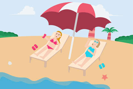 Summer holiday vector concept: Two young women relaxing on the beach chair while sunbathing together