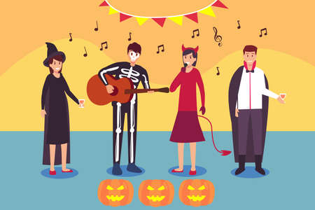 Halloween vector concept: Young people wearing ghost costumes, singing together while celebrating halloween party Ilustração