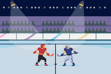 Hockey vector concept: Two hockey players ready to play in the stadium